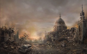 Обои машина, город, здание, постапокалипсис, Destroy City