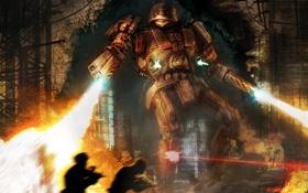 Обои огонь, война, робот, огнеметы, пехота
