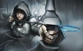 Обои лук, капюшон, стрела, парень, Diablo 3, Demon Hunter