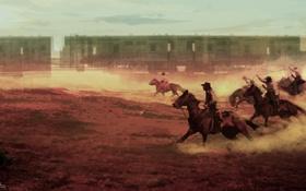 Обои поезд, погоня, ситуация, арт, ковбои, Дикий запад