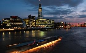 Обои река, мост, вечер, огни