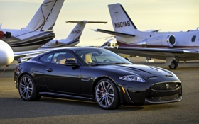 Картинка фон, чёрный, Jaguar, Ягуар, суперкар, передок, самолёты