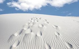 Картинка песок, небо, облака, следы, пустыня, бархан