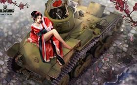Обои девушка, японка, рисунок, легкий, арт, танк, азиатка