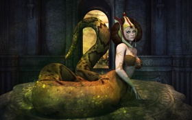 Картинка league of legends, лицо, cassiopeia, хвост, рендеринг, взгляд, змея