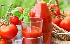 Обои корзина, бутылка, сок, стаканы, помидоры, томатный