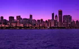 Обои USA, набережная, вечер, огни, city, город, Illinois