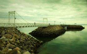 Обои небо, вода, камни, люди, обои, пейзажи, мосты