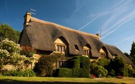 Картинка дизайн, дом, газон, забор, дорожка, Великобритания, кусты