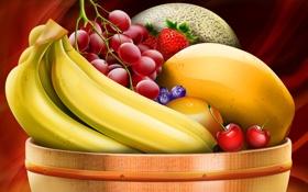 Картинка еда, ягода, ваза, фрукты, банан