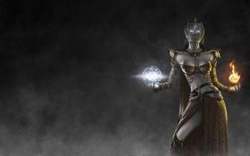 Обои девушка, фон, магия, арт, Guild Wars 2, Human Elemental, Sanea Northsand