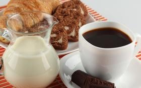 Картинка кофе, шоколад, молоко, выпечка, круассан
