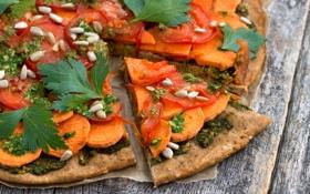 Картинка тыква, пицца, семечки, помидоры, петрушка, вегетарианская