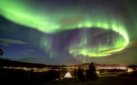 Обои небо, звезды, горы, ночь, огни, северное сияние, Aurora Borealis