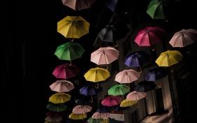 Обои зонты, ночь, Luxemburg