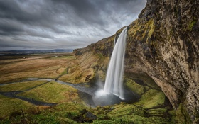 Картинка небо, тучи, скала, обрыв, водопад, Исландия