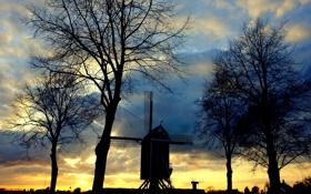 Обои солнце, закат, мельница