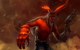 Обои старость, красный, пистолет, демон, искры, Hellboy