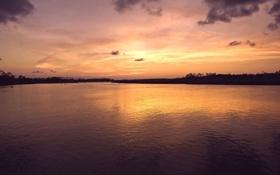 Картинка landscape, nature, закат, небо, water, light, природа
