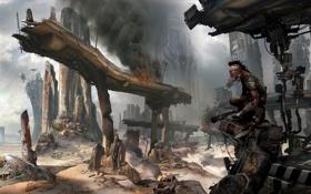 Обои апокалипсис, здания, руины, games, art, мутант, Rage