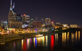 Обои ночь, город, река, фото, побережье, дома, США