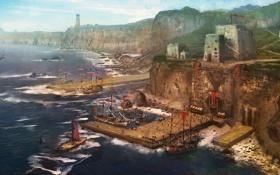 Обои море, пейзаж, маяк, парусник, корабли, арт, пирс
