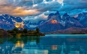 Обои облака, скалы, озеро, вечер, горы, Patagonia, Чили
