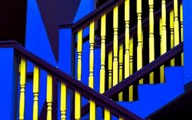 Обои синий, желтый, текстура, лестница, перила, ступени