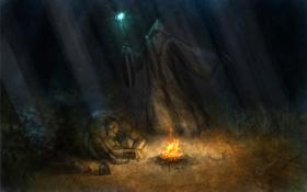 Картинка ночь, огонь, маг, шлем, посох, огр