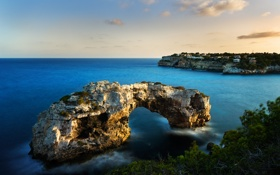Обои море, скалы, арка, Balearic Islands, Mallorca, Cala Santanyi