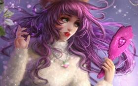 Обои девушка, волосы, зеркало, арт, girl, розовые, слёзы