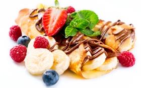 Картинка бананы, сладкое, десерт, шоколад, фрукты, блины, ягоды