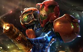 Обои art, helmet, Samus Aran, Metroid