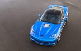 Обои Синий, Chevrolet, Асфальт, Капот, Шевроле, ZR1, corvette