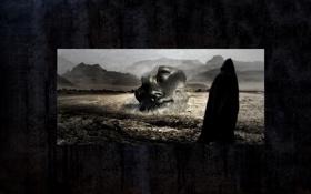 Обои статуя, лицо, силуэт, фон, плащ, чёрный