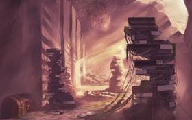 Обои свет, здание, книги, паутина, арт, chibionpu