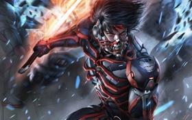 Картинка металл, оружие, меч, маска, арт, броня, парень