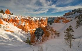 Картинка зима, снег, горы, скалы, арка, Юта, США