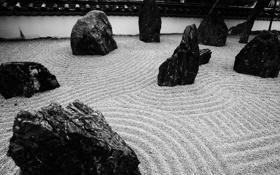 Картинка песок, камни, узоры, ч/б, песчинки