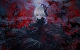 Обои девушка, кровь, платье, saber, dark saber, челка, solo