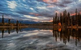 Обои горы, озеро, отражение, Канада, Alberta, Canada, Jasper National Park