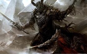 Обои меч, доспехи, бой, рога, шлем, плащ, Guild Wars 2