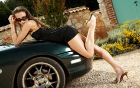 Обои машина, платье, очки