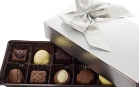 Картинка белый, коробка, подарок, темный, шоколад, конфеты, сладкое