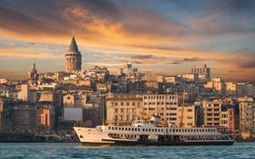 Картинка пейзаж, природа, city, город, корабль, паром, landscape