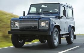 Обои дорога, небо, синий, джип, внедорожник, Land Rover, передок