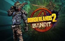 Обои оружие, игра, маска, бандит, borderlands