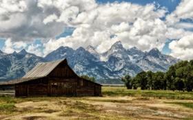Картинка горы, пейзаж, поле, дом