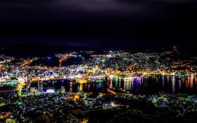 Обои ночь, огни, Япония, мегаполис, Nagasaki