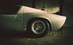 Обои гараж, суперкар, вид сбоку, Lamborghini Miura